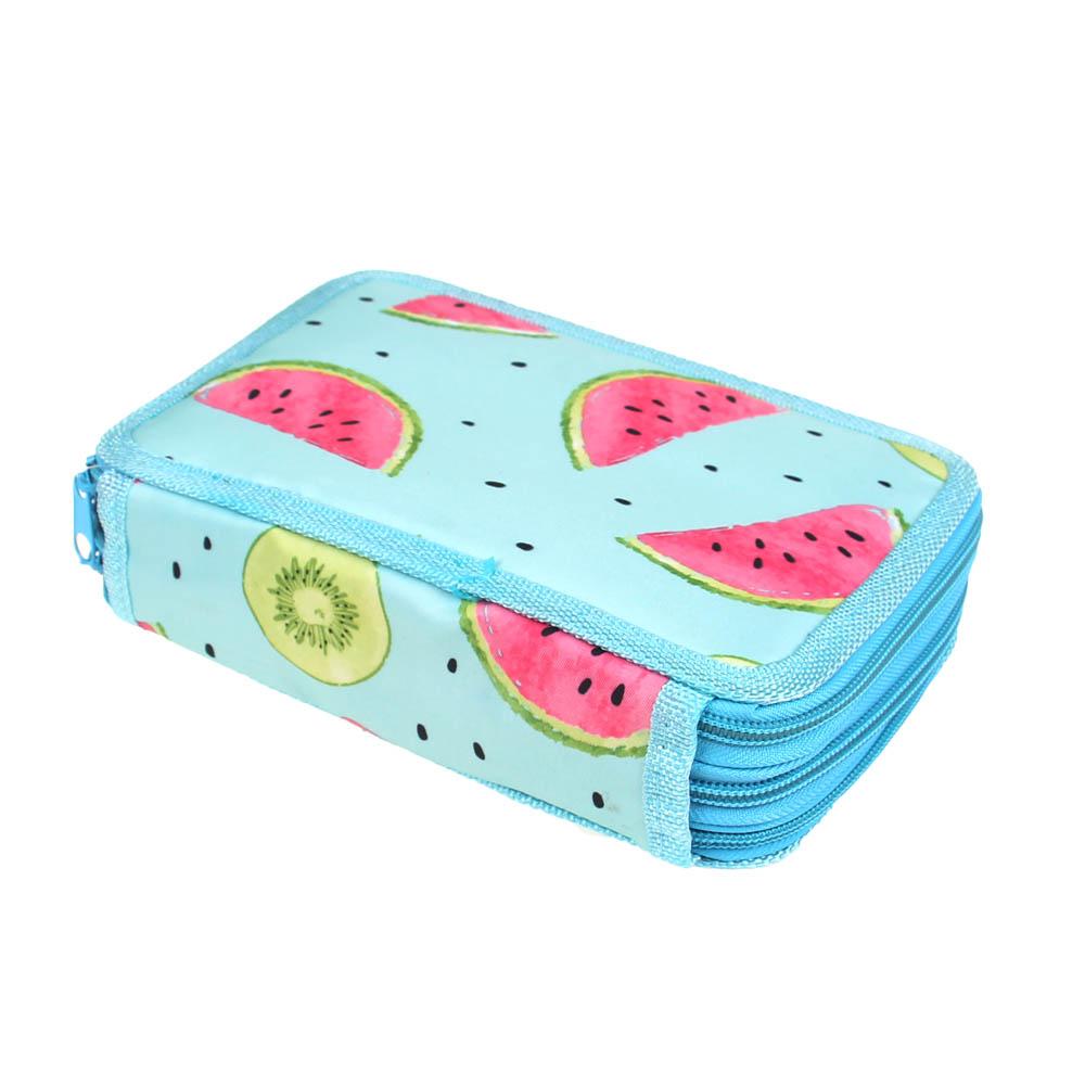 Penál 3patrový sv. modrý meloun + školní potřeby - náhľad 4