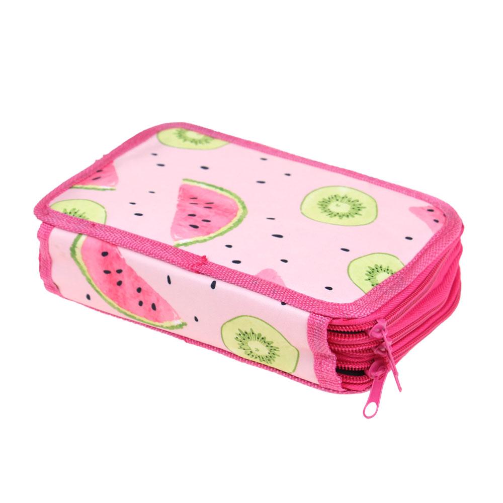 Penál 3patrový růžový meloun + školní potřeby - náhled 4