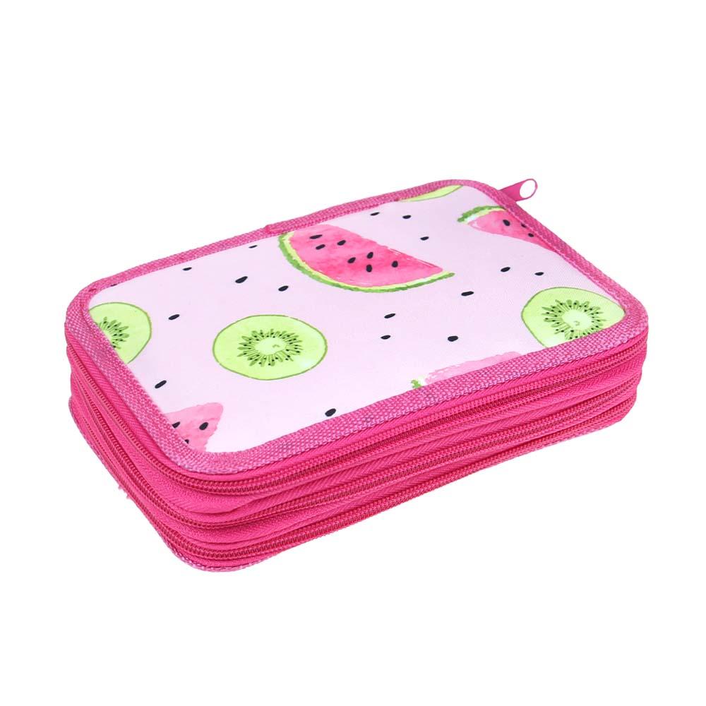 Penál 3patrový růžový meloun + školní potřeby - náhled 1
