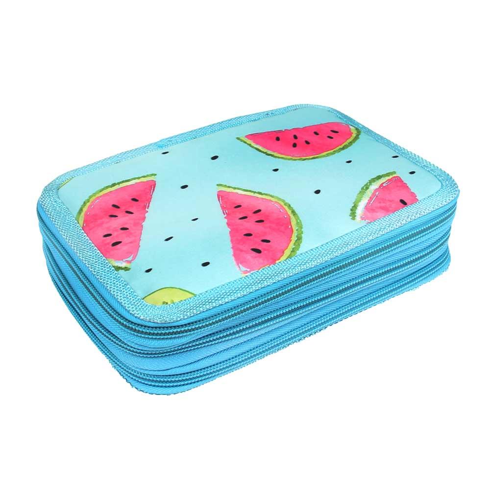 Penál 3patrový sv. modrý meloun + školní potřeby - náhled 1