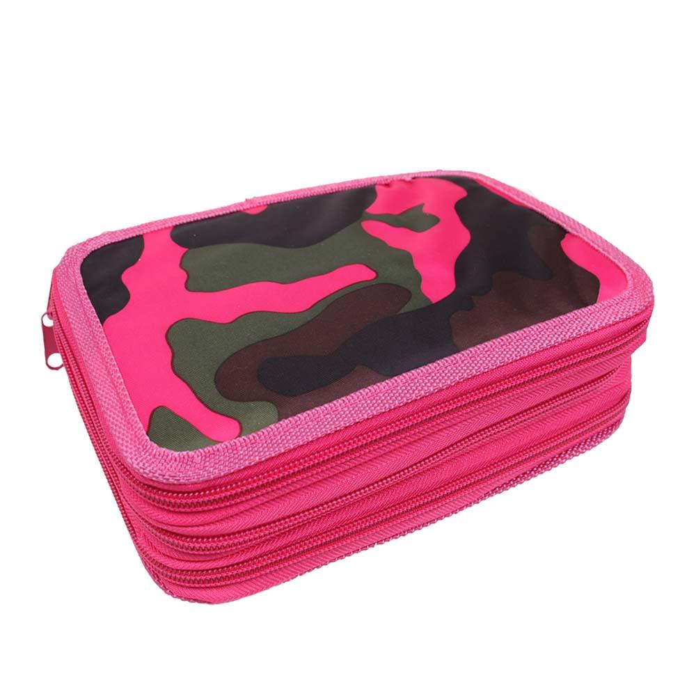 Penál 3patrový růžový maskáč + školní potřeby - náhled 1