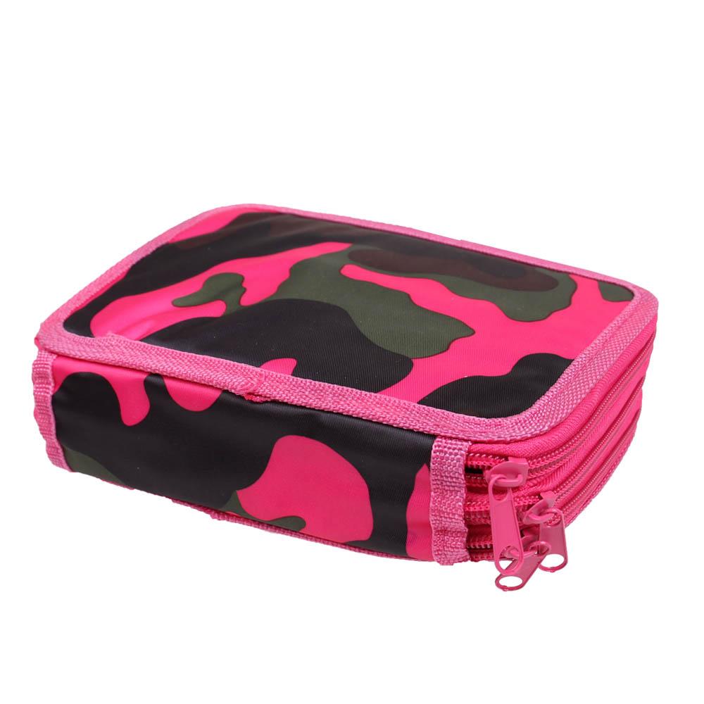 Penál 3patrový růžový maskáč + školní potřeby - náhled 4